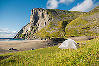 Tent camping at Kvalvika beach, Moskenesøy, Lofoten Islands, Norway
