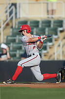 Cole Freeman (8) of the Hagerstown Suns follows through on his swing against the Kannapolis Intimidators at Kannapolis Intimidators Stadium on July 16, 2018 in Kannapolis, North Carolina. The Intimidators defeated the Suns 7-6. (Brian Westerholt/Four Seam Images)