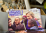 Garden City, New York, USA. 17th April 2016. Campaign literature, including postcards with photo of Hillary Clinton, Democratic presidential primary candidate, with diverse girls, is ready to be picked up by volunteers at the Canvass Kickoff at the Nassau County Democratic Office, part of the GOTV Get Out The Vote for Hillary four day weekend event.