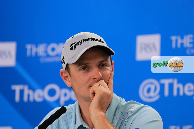 Justin Rose (ENG) speaking to the media at The 142th Open Championship Muirfield, Gullane, East Lothian, Scotland 17/7/2013<br /> Picture Eoin Clarke www.golffile.ie: