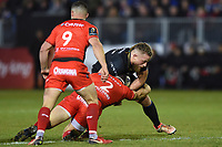 Max Lahiff of Bath Rugby takes on the Toulon defence. European Rugby Champions Cup match, between Bath Rugby and RC Toulon on December 16, 2017 at the Recreation Ground in Bath, England. Photo by: Patrick Khachfe / Onside Images