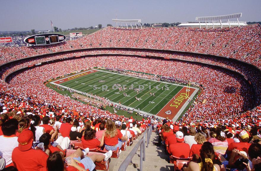 Kansas City Chiefs Arrowhead Stadium overall from the 1994 season.  Arrowhead Stadium opened in 1972 and has been the home of the Kansas City Chiefs since.