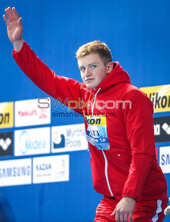 Picture by Alex Whitehead/SWpix.com - 05/08/2015 - Swimming - 16th FINA World Swimming Championships 2015 - Kazan Arena Stadium, Kazan, Russia - Great Britain's Adam Peaty wins Gold in the Men's 50m Breaststroke final.