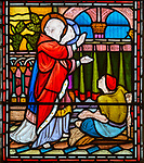 Saint Peter healing a lame person nineteenth century stained glass window at Holy Trinity church, Easton Royal, Wiltshire, England, UK unknown artist