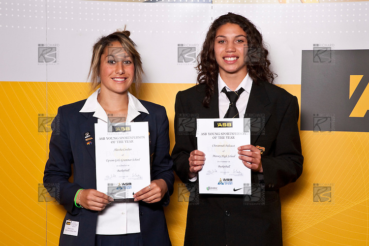 Girls Basketball finalists Aleesha Coulter & Chevannah Palvasst. ASB College Sport Auckland Secondary School Young Sports Person of the Year Awards held at Eden Park on Thursday 12th of September 2009.