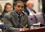 Senate Majority Leader Steven Horsford, D-North Las Vegas, speaks in committee at the Legislature in Carson City, Nev., on Monday, April 4, 2011.  .Photo by Cathleen Allison