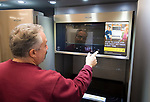 WATERBURY , CT-011519JS02- Owner John Ciccio demonstrates the features on a Whirlpool smart range and microwave on display at Allstar Appliance in Waterbury on Tuesday. <br /> Jim Shannon Republican American