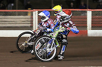 Heat 2: Justiin Sedgmen (red), Rob Mear (blue) and Patrick Hougaard - Lakeside Hammers vs Peterborough Panthers - Sky Sports Elite League Speedway at Arena Essex Raceway, Purfleet - 14/09/12 - MANDATORY CREDIT: Gavin Ellis/TGSPHOTO - Self billing applies where appropriate - 0845 094 6026 - contact@tgsphoto.co.uk - NO UNPAID USE.