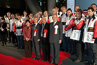 Dignitaries at the the opening ceremony of Tokyo Taste, The World Summit of Gastronomy 2009 include former Prime Minister of Japan, Junichiro Koizumi (front second left), 9 February 2009,Tokyo, Japan.Many of the world's top chefs are assembled for the sold-out 3 day event in the center of Tokyo.