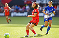Portland, Oregon - Sunday September 4, 2016: Portland Thorns FC midfielder Meleana Shim (6) and Boston Breakers midfielder Stephanie Verdoia (22) during a regular season National Women's Soccer League (NWSL) match at Providence Park.