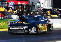 Feb 6, 2015; Pomona, CA, USA; NHRA pro stock driver Larry Morgan during qualifying for the Winternationals at Auto Club Raceway at Pomona. Mandatory Credit: Mark J. Rebilas-