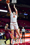 College Park, MD - NOV 16, 2016: Maryland Terrapins center Jenna Staiti (14) goes up strong to the basket during game between Maryland and Maryland Eastern Shore Lady Hawks at XFINITY Center in College Park, MD. The Terps defeated the Lady Hawks 106-61. (Photo by Phil Peters/Media Images International)