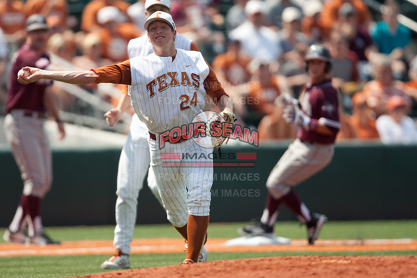 Texas Longhorns pitcher Parker French #24 throws the ball to first after a bunt in the NCAA baseball game against the Texas A&M Aggies on April 28, 2012 at UFCU Disch-Falk Field in Austin, Texas. The Aggies beat the Longhorns 12-4. (Andrew Woolley / Four Seam Images)...