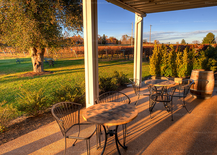 The back porch at Gray Ghost offers direct access to the yard and a view of the surrounding vineyards.  (HDR image)