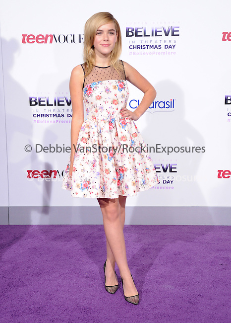 LOS ANGELES, CA - December 18: Kiernan Shipka arrives at Justin Bieber`s Believe World Premiere held at The Premiere House at Regal Cinemas L.A. Live in Los Angeles, California on December 18,2013                                                                               © 2013 Hollywood Press Agency