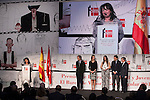 Princess Letizia of Spain (L) and one of the winners attend `El barco de vapor´ Awards ceremony at Real Casa de Correos in Madrid, Spain. April 01, 2014. (ALTERPHOTOS/Victor Blanco)