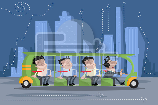 Illustrative image of businessmen travelling in bus against buildings representing business travel