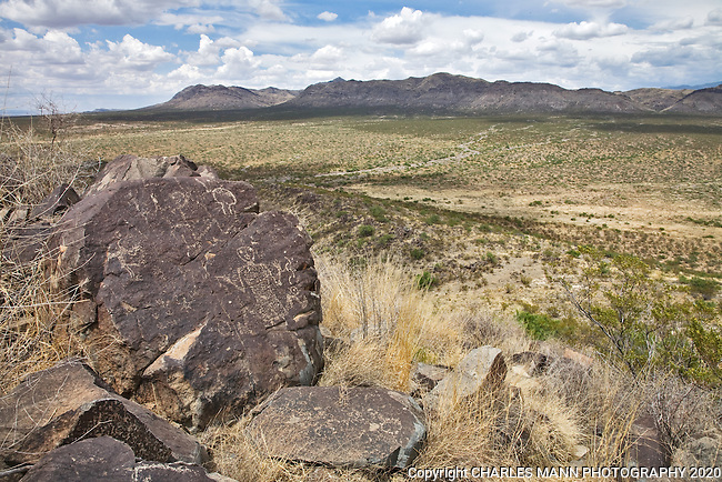 A mysterious petroglyph resembling a human figure is etched on a stone at Three Rivers State Park near Tularosa, New Mexico