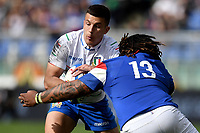 Tommaso Allan Italy and Mathieu Bastareaud France.<br /> Roma 16-03-2019 Stadio Olimpico<br /> Rugby Six Nations tournament 2019  <br /> Italy - France <br /> Foto Antonietta Baldassarre / Insidefoto