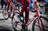 Team Katusha-Alpecin riders on their way to the sign-on podium.<br /> <br /> 70th Kuurne-Brussel-Kuurne 2018 (1.HC)