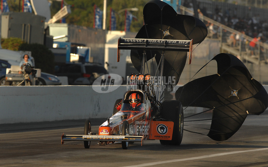 Nov 3, 2007; Pomona, CA, USA; NHRA top fuel dragster driver Urs Erbacher during qualifying for the Auto Club Finals at Auto Club Raceway at Pomona. Mandatory Credit: Mark J. Rebilas-US PRESSWIRE