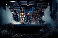 Justice League (2017) <br /> BEN AFFLECK as Batman, GAL GADOT as Wonder Woman, RAY FISHER as Cyborg, EZRA MILLER as The Flash and JASON MOMOA as Aquaman<br /> *Filmstill - Editorial Use Only*<br /> CAP/KFS<br /> Image supplied by Capital Pictures