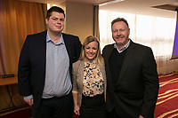 From left are Lewis Quayle of ALEA Casino, Hannah Bullock of Pulse Custom Wear and Andy Middleton of Ginger Root