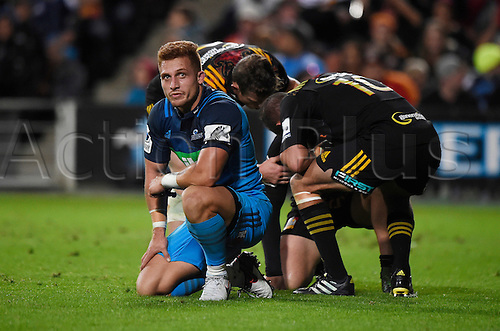 08.04.2016. Hamilton, New Zealand.  A dejected Ihaia West during the Blues versus Chiefs Super Rugby match at Waikato Stadium, Hamilton, New Zealand. Friday 8 April 2016.