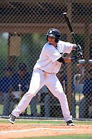GCL Tigers outfielder Adrian Castano (21) at bat during a game against the GCL Blue Jays on June 30, 2014 at Tigertown in Lakeland, Florida.  GCL Blue Jays defeated the GCL Tigers 3-1.  (Mike Janes/Four Seam Images)