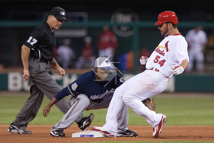 July 1, 2010       Milwaukee Brewers shortstop Alcides Escobar (21) makes the tag on St. Louis Cardinals starting pitcher Jaime Garcia (54) as umpire John Hirschbeck (17) watches in the fifth inning.  The St. Louis Cardinals defeated the Milwaukee Brewers 5-0 in the second game of a four-game homestand at Busch Stadium in downtown St. Louis, MO on Friday July 2, 2010.