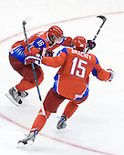 Evgeni Grachev (Russia - 15), Sergei Andronov (Russia - 16) - Sergei Andronov (Russia - 16), Evgeni Grachev (Russia - 15) - Canada defeated Russia 6-5 on Saturday, January 3, 2009, at Scotiabank Place in Kanata (Ottawa), Ontario during the 2009 World Junior Championship.