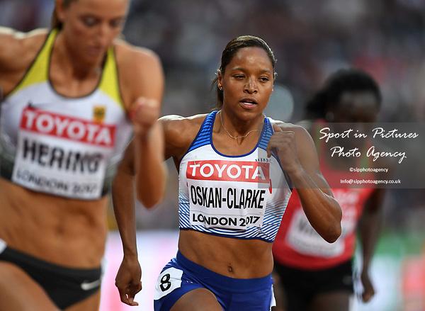 ShelaynaOSKAN-CLARKE (GBR) in the womens 800m semi-final. IAAF world athletics championships. London Olympic stadium. Queen Elizabeth Olympic park. Stratford. London. UK. 11/08/2017. ~ MANDATORY CREDIT Garry Bowden/SIPPA - NO UNAUTHORISED USE - +44 7837 394578