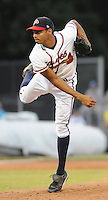 June 19, 2008: RHP Angelo Paulino (15) of the Danville Braves, rookie Appalachian League affiliate of the Atlanta Braves, in a game against the Burlington Royals at Dan Daniel Memorial Park in Danville, Va. Photo by:  Tom Priddy/Four Seam Images
