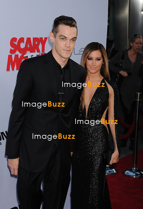 Christopher French and Ashley Tisdale arrive at the 'Scary Movie V' - Los Angeles Premiere at ArcLight Cinemas Cinerama Dome on April 11, 2013 in Hollywood, California
