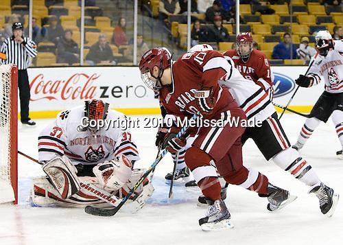 Chris Rawlings (NU - 37), Eric Kroshus (Harvard - 10) - The Northeastern University Huskies defeated the Harvard University Crimson 4-1 (EN) on Monday, February 8, 2010, at the TD Garden in Boston, Massachusetts, in the 2010 Beanpot consolation game.