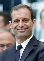 Calcio, Serie A: Juventus vs Palermo. Torino, Juventus Stadium, 17 aprile 2016.<br /> Juventus coach Massimiliano Allegri smiles prior to the start of the Italian Serie A football match between Juventus and Palermo at Turin's Juventus Stadium, 17 April 2016.<br /> UPDATE IMAGES PRESS/Isabella Bonotto