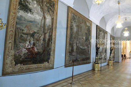 St. Petersburg, Russia - August 15, 2009 -- Interior hallway in the Hermitage displaying large tapestries in St. Petersburg, Russia on Saturday, August 15, 2009.  The Hermitage is known as one of the greatest museums in the world. It consists the Winter Palace - the residence of the Russian Tsars and 4 other historical buildings.  The museum's collection includes over 3 million pieces of art with dates ranging from high antiquity to the present day. .Credit: Ron Sachs / CNP