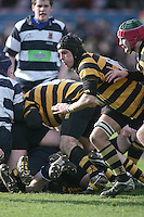 R.B.A.I. flanker Jamie Lusk attacks the blind side during the Northern Bank Schools Cup Final at Ravenhill. Result Wallace 0pts R.B.A.I. 15pts.
