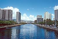 Honolulu: Ala Wai Canal from Ala Moana Blvd. Photo '82.