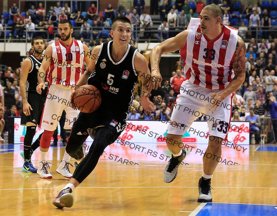 Kosarka ABA League season 2015-2016<br /> Crvena Zvezda v Partizan<br /> Petar Aranitovic (C) Maik Zirbes<br /> Beograd, 03.11.2015.<br /> foto: Srdjan Stevanovic/Starsportphoto&copy;