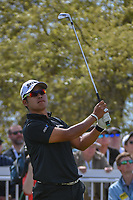 Hideki Matsuyama (JPN) watches his tee shot on 7 during round 1 of the World Golf Championships, Dell Match Play, Austin Country Club, Austin, Texas. 3/21/2018.<br /> Picture: Golffile | Ken Murray<br /> <br /> <br /> All photo usage must carry mandatory copyright credit (&copy; Golffile | Ken Murray)