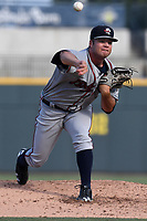 Starting pitcher Bryse Wilson (52) of the Rome Braves delivers a pitch in a game against the Columbia Fireflies on Sunday, July 2, 2017, at Spirit Communications Park in Columbia, South Carolina. Columbia won, 3-2. (Tom Priddy/Four Seam Images)