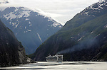 a cruise ship (Princess line) heads up the Tracy Arms fjord on a June morning on the coast of Alaska, south of Juneau