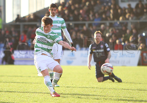 24.01.2015.  Dingwall, Scotland. Scottish Premier League. Ross County versus Celtic. Liam Henderson shoots for Celtic