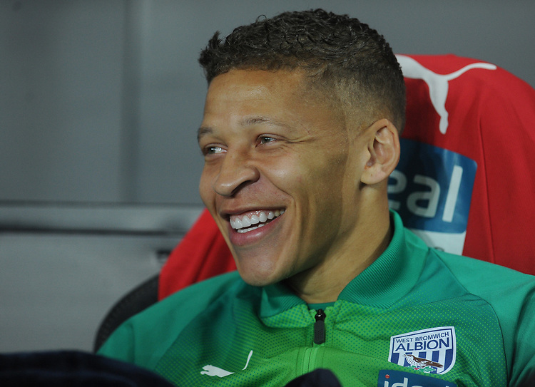 West Bromwich Albion's Dwight Gayle takes his seat on the bench<br /> <br /> Photographer Kevin Barnes/CameraSport<br /> <br /> The EFL Sky Bet Championship - Swansea City v West Bromwich Albion - Wednesday 28th November 2018 - Liberty Stadium - Swansea<br /> <br /> World Copyright &copy; 2018 CameraSport. All rights reserved. 43 Linden Ave. Countesthorpe. Leicester. England. LE8 5PG - Tel: +44 (0) 116 277 4147 - admin@camerasport.com - www.camerasport.com