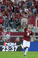 27th October 2019; Olympic Grande Torino Stadium, Turin, Piedmont, Italy; Serie A Football, Torino versus Cagliari; Simone Zaza of Torino FC waves to his supporters after scoring the equalizing goal in the 69th minute - Editorial Use
