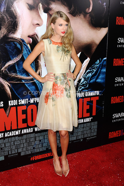 WWW.ACEPIXS.COM<br /> <br /> September 24 2013, LA<br /> <br /> Singer Taylor Swift arriving at the world premiere of 'Romeo and Juliet' at the ArcLight Hollywood on September 24, 2013 in Hollywood, California.<br /> <br /> <br /> By Line: Peter West/ACE Pictures<br /> <br /> <br /> ACE Pictures, Inc.<br /> tel: 646 769 0430<br /> Email: info@acepixs.com<br /> www.acepixs.com