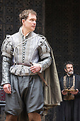 London, UK. 25 April 2015. Daniel Lapaine as Bassanio and Philip Cox as Balthasar. William Shakespeare's The Merchant of Venice is performed at Shakespeare's Globe, Globe Theatre, from 23 April - 7 June 2015. With Daniel Lapaine as Bassanio, Rachel Pickup as Portia and Jonathan Pryce as Shylock. Photo: Bettina Strenske