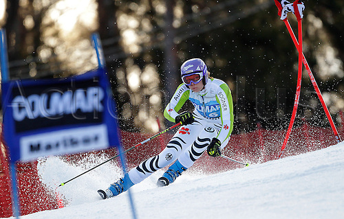 Maria Riesch of Germany skiing in first run of Women giant slalom race of Audi FIS alpine skiing World Cup in Maribor, Slovenia. Giant slalom race of Women Audi FIS Alpine skiing World Cup 2010-11, was held on Saturday, 15th of January 2011, in Maribor, Slovenia..