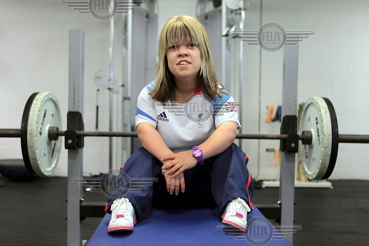 Zoe Newson in training with Team GB's Paralympic power lifting squad at The University of Bath. She competed at the 2012 London Paralympic Games.